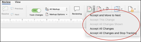 track changes in Microsoft Word 2019 macOS