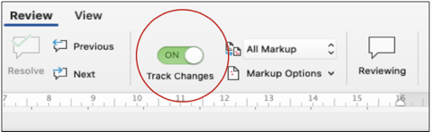 track changes Microsoft Office 2019